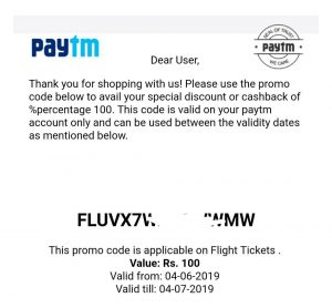 PayTm Travel Offer